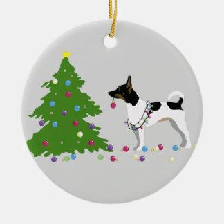 Rat Terrier Silhouette Christmas Design Ceramic Ornament