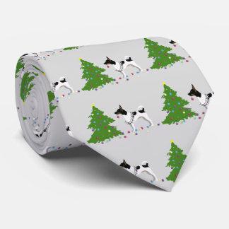 Rat Terrier Silhouette Christmas Design Tie