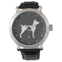 Rat Terrier Silhouette Wristwatch