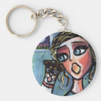 Rat terrier sings along basic round button keychain