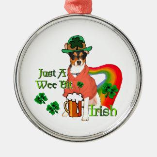 Rat Terrier St Patricks Metal Ornament