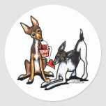 Rat Terrier Sweethearts Valentines Classic Round Sticker