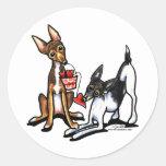 Rat Terrier Sweethearts Valentines Round Stickers