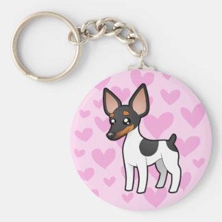 Rat Terrier / Toy Fox Terrier Love Basic Round Button Keychain
