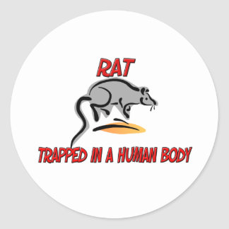Rat trapped in a human body classic round sticker