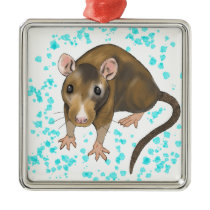 Rat Watercolour Metal Ornament