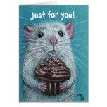 Rat with Chocolate Cupcake Card