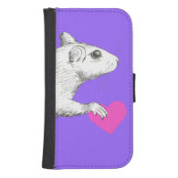 rat with heart phone wallet case