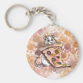 Rat with Pizza Keychain