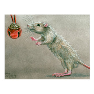 Rat with red bell postcard Christmas