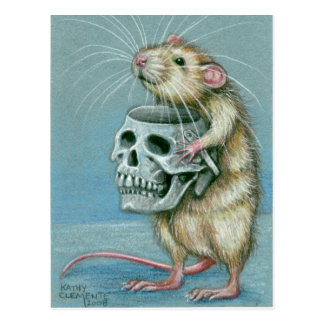Rat with Skull Halloween Postcard