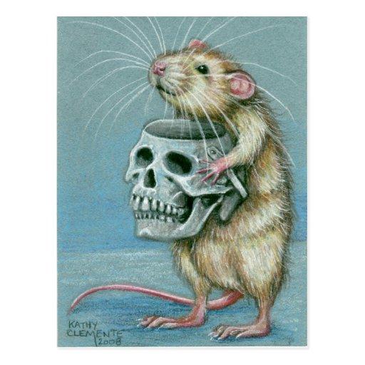 Rat with Skull Halloween Postcard