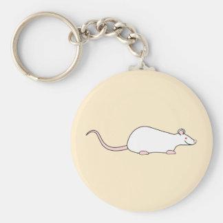 Rata blanca del mascota del albino llavero redondo tipo pin