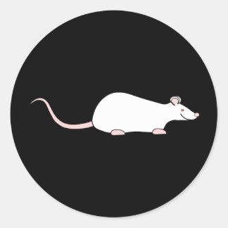 Rata blanca del mascota del albino pegatina redonda