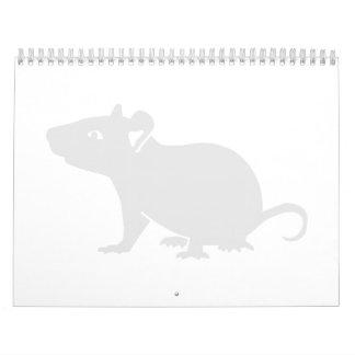 Rata blanca del ratón calendario de pared