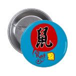Rata china del zodiaco en botón del kanji pin