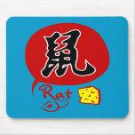 Rata china del zodiaco en el kanji Mousepad Alfombrillas De Raton