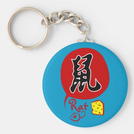 Rata china del zodiaco en llavero del kanji