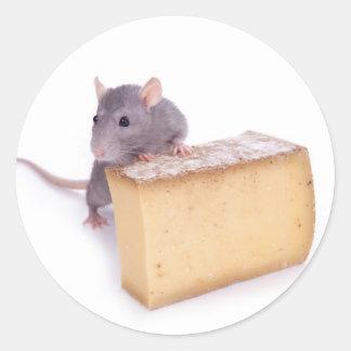 rata con queso pegatina redonda