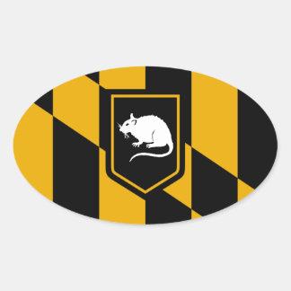 Rata de la bandera de Baltimore Pegatina Ovalada
