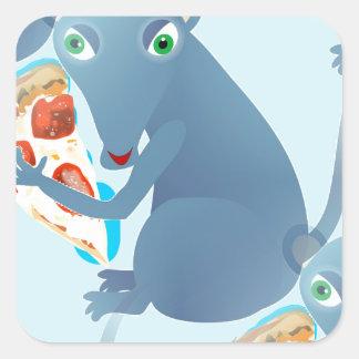 rata de la pizza pegatina cuadrada