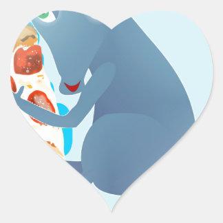 rata de la pizza pegatina en forma de corazón