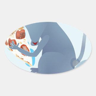 rata de la pizza pegatina ovalada