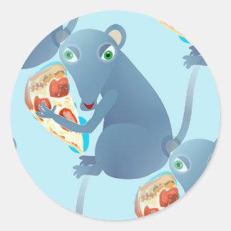 rata de la pizza pegatina redonda