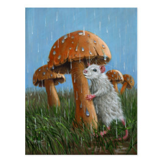 Rata debajo de la seta en postal de la lluvia