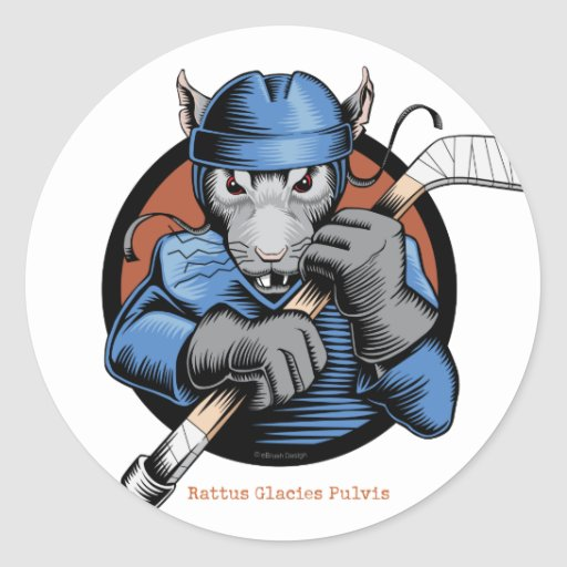 Rata del hockey etiquetas redondas