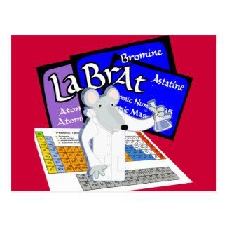 Rata del laboratorio deletreada con los elementos tarjetas postales