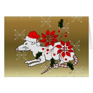 Rata del navidad tarjetón
