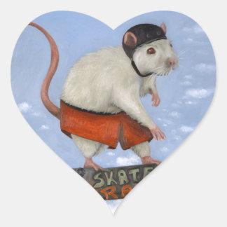 Rata del patín pegatina en forma de corazón