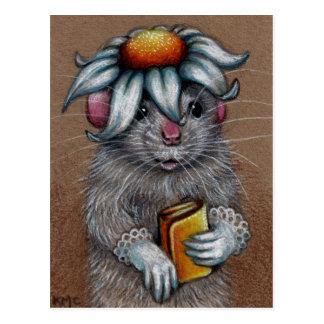 Rata en gorra de la margarita y postal de los guan