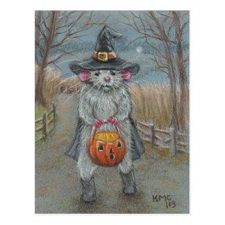 Rata en la postal de Halloween del traje de la bru
