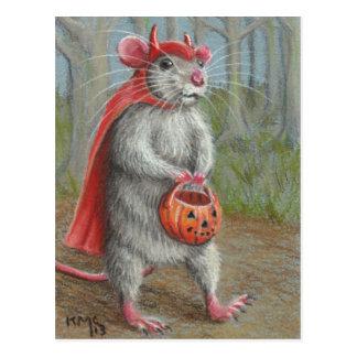 Rata en la postal de Halloween del traje del diabl