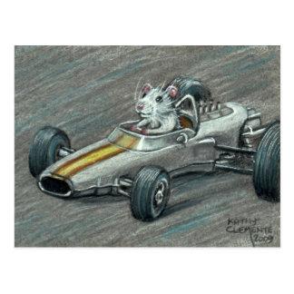 Rata en postal del coche de carreras