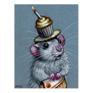 Rata en postal del gorra de la magdalena