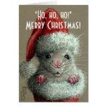 Rata en tarjeta de Navidad de la media del gorra d