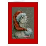Rata en tarjeta de Navidad del gorra de Santa