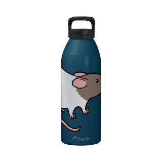 Rata encapuchada linda - gris y blanco botellas de agua reutilizables