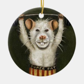 Rata estupenda adorno navideño redondo de cerámica