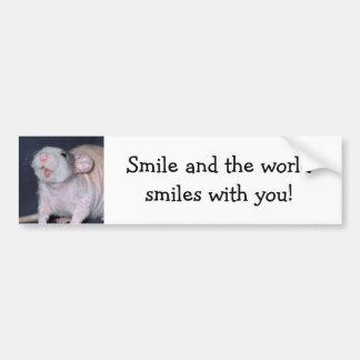 Rata linda de la sonrisa pegatina para auto