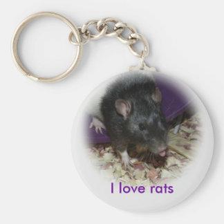 Rata linda que pega hacia fuera su llavero de la l