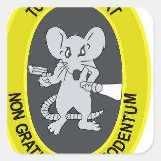 Rata no Gratum Rodentum del túnel Pegatina Cuadrada