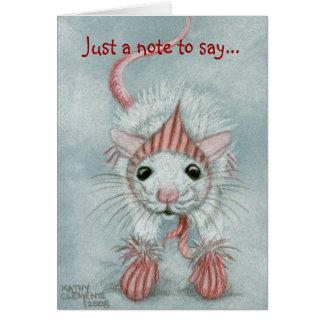 Rata que lleva Babushka y las manoplas, tarjeta de