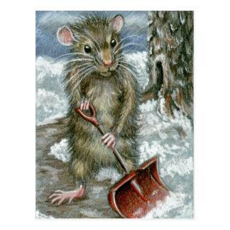 Rata que traspala la postal de la nieve