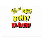 ¡RATA TAT TAT, BIFF del dibujo animado! ¡BONK! Postal