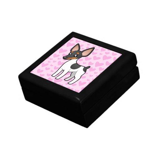 Rata Terrier/amor del fox terrier de juguete Joyero Cuadrado Pequeño