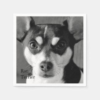 Rata Terrier blanco y negro Servilletas Desechables